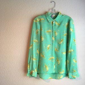 Anthropologie bird print blouse